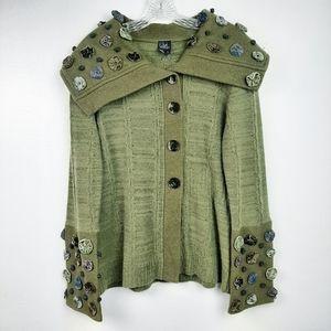Covelo Wool Knit Sweater Jacket Embellished Green